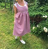 Šaty - Starorúžové ľanové šaty - 10829396_