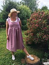 Šaty - Starorúžové ľanové šaty - 10829398_