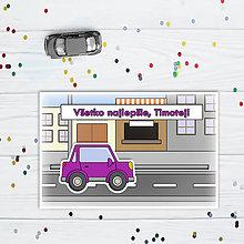 Papiernictvo - Interaktívna pohľadnica auto (s okrajmi)  (v meste - hranaté trojdverové) - 10829726_