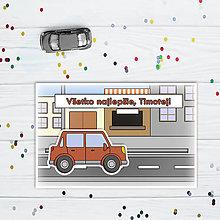 Papiernictvo - Interaktívna pohľadnica auto (s okrajmi)  (v meste - hranaté päťdverové) - 10829727_