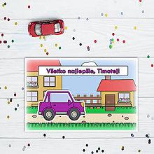 Papiernictvo - Interaktívna pohľadnica auto (s okrajmi)  (na dedine - hranaté trojdverové) - 10829728_