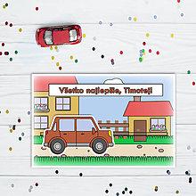 Papiernictvo - Interaktívna pohľadnica auto (s okrajmi)  (na dedine - hranaté päťdverové) - 10829729_