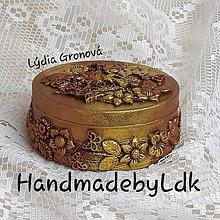 Krabičky - Šperkovnica medeno zlatá s 3D kvietkami - 10830906_