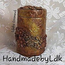 Krabičky - Dóza s 3D kvietkami medeno zlatá - 10831094_