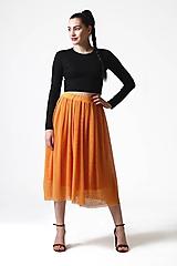 Sukne - Tylová sukňa midi okrová - 10832323_