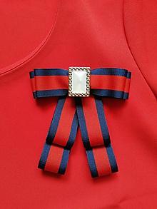 Odznaky/Brošne - Červeno-modrá mašľa - 10832031_