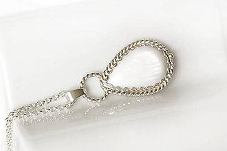 Náhrdelníky - labutia kvapka s perleťou / Ag 925 - 10831192_