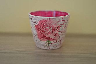 Svietidlá a sviečky - Svietnik s ružou - 10831953_