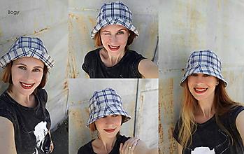 Čiapky - Unisex lehký klobouk na jaro/léto, šedomodré káro - 10831169_