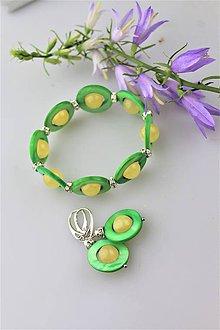 Sady šperkov - perleť a kalcit náramok a náušnice - 10832109_