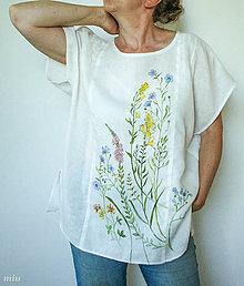 """Tuniky - Ľanová maľovaná  blúzka """"lúčne kvety"""" - 10831138_"""