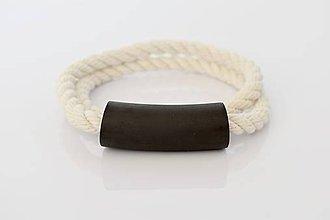 Náhrdelníky - Tube on rope - black - 10831861_