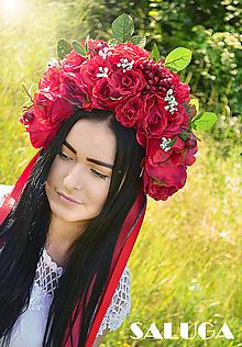 Ozdoby do vlasov - Kvetinová folklórna parta - ruže - červená - 10832119_