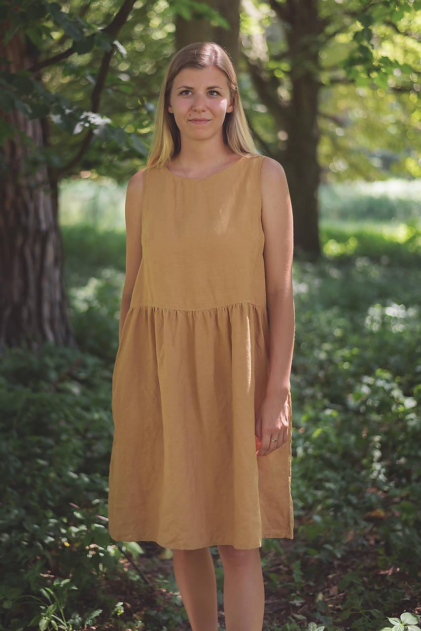 miljö ľanové šaty - sommardag