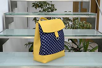 Batohy - Ruksak PEŤO žltý s modrotlačou - 10831114_