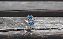 Prstene - Strieborný rhodiovaný duo prsteň Apatit - 10830700_