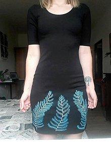 Šaty - Šaty s modrou papraďou - 10830765_