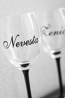 Papiernictvo - Nálepky na svadobný pohár - Nevesta / Ženích - 10831156_