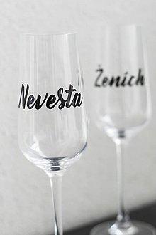 Papiernictvo - Nálepka na svadobný pohár - Nevesta / Ženích - 10831168_