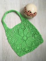 Nákupné tašky - Háčkovaná sieťovka zelená - 10831201_