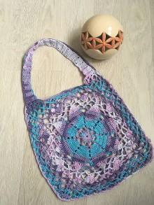Nákupné tašky - Háčkovaná sieťovka fialový melír - 10831207_