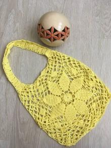 Nákupné tašky - Háčkovaná sieťovka žltá - 10831254_