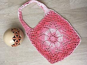 Nákupné tašky - Háčkovaná sieťovka ružový melír - 10831265_