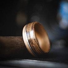 Prstene - Drevená svadobná obrúčka - teak / javor / striebro - 10832117_