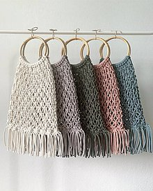Kabelky - Makramé tašky (Ružová) - 10830590_