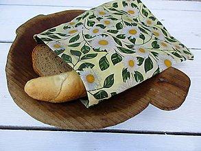 Úžitkový textil - desiatové voskované vrecko-margarétky - 10832145_