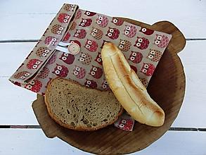Úžitkový textil - desiatové voskované vrecko-hnedá sova - 10832201_
