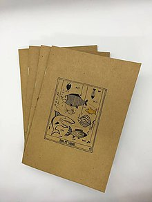 Papiernictvo - Papierový zošit s maľovaným motívom (Zošit - Ryby ma ťahajú) - 10831467_