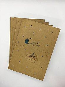 Papiernictvo - Papierový zošit s maľovaným motívom (Zošit - Domček) - 10831469_