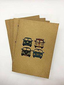 Papiernictvo - Papierový zošit s maľovaným motívom (Zošit - Hippie van) - 10831471_