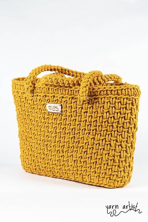 Veľké tašky - Háčkovaná taška STELA, mustard - 10832632_
