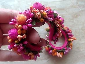 Náušnice - Ružovo-oranžové kruhy - 10830970_