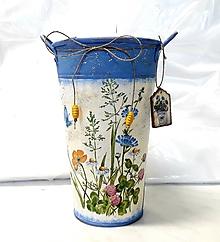 Nádoby - plechové vedierko lúčne kvety - 10832694_