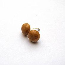 Náušnice - Drevené náušnice napichovacie - jelšové vypuklé ďobky - 10830893_