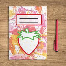 Papiernictvo - Šťavnaté ovocie - zápisník  (jahoda) - 10831896_