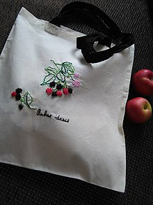 Nákupné tašky - Malina ostružina (ručne vyšívaná taška) - 10833536_