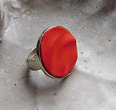Prstene - prstienok vlnky červený - 10833368_