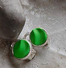 Náušnice - klipsy vlnky v zelenej - 10834552_
