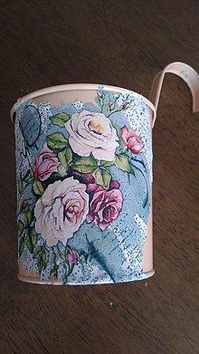 Nádoby - kvetináč plechový (10x5 - Ružová) - 10833678_