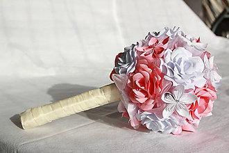Kytice pre nevestu - Kytica z papierových ruží a origami kvetov (rôzne farby) - 10833131_