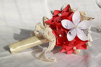 Kytice pre nevestu - Kytica z papierových origami kvetov (rôzne farby) - 10833174_