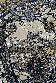 Grafika - Pohľad na Bratislavský hrad - 10833434_