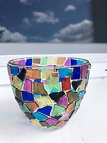 Svietidlá a sviečky - Farebný svietnik mozaika - 10834214_