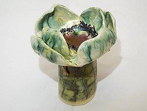 Socha - Makový svietnik (kvet priemer 12  cm výška 13 cm - Tyrkysová) - 10833919_