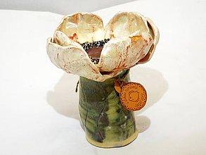 Socha - Makový svietnik (kvet priemer 12 cm, výška 13 cm - Ružová) - 10833925_