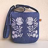- Džínsová recy kabelka modrá/ folk kvety biele a modrotlač - 10833986_